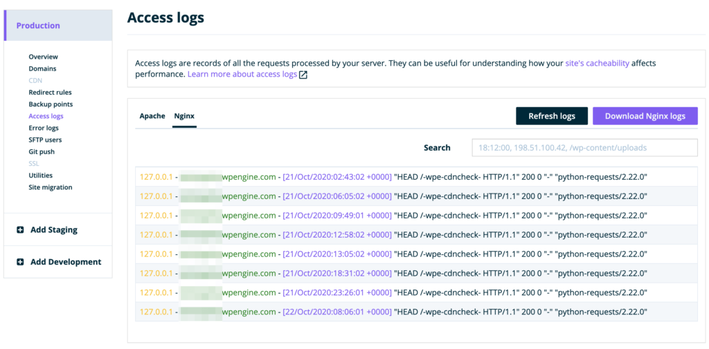 The WP Engine Access Logs screen.