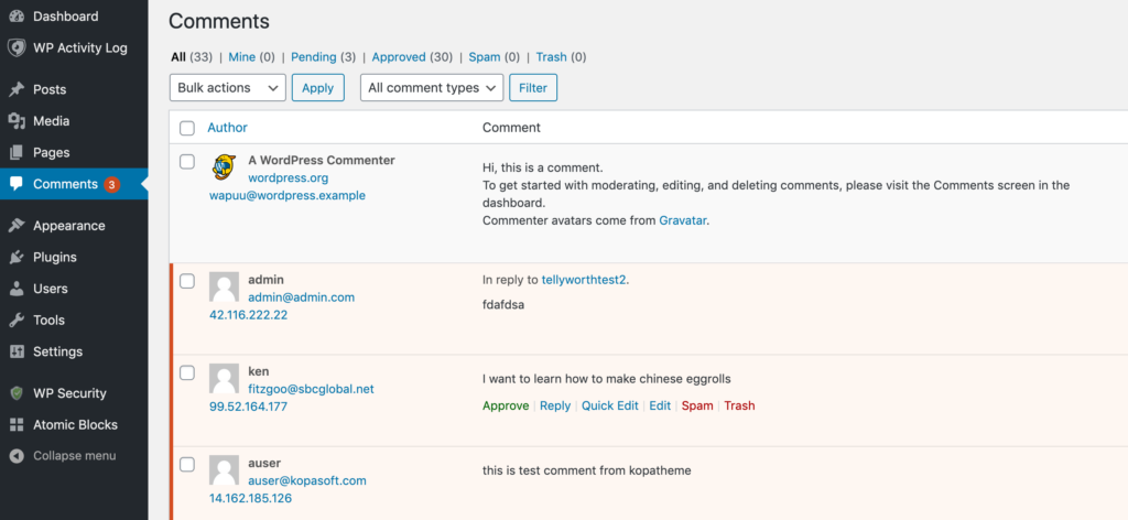 The Comments screen within WordPress.