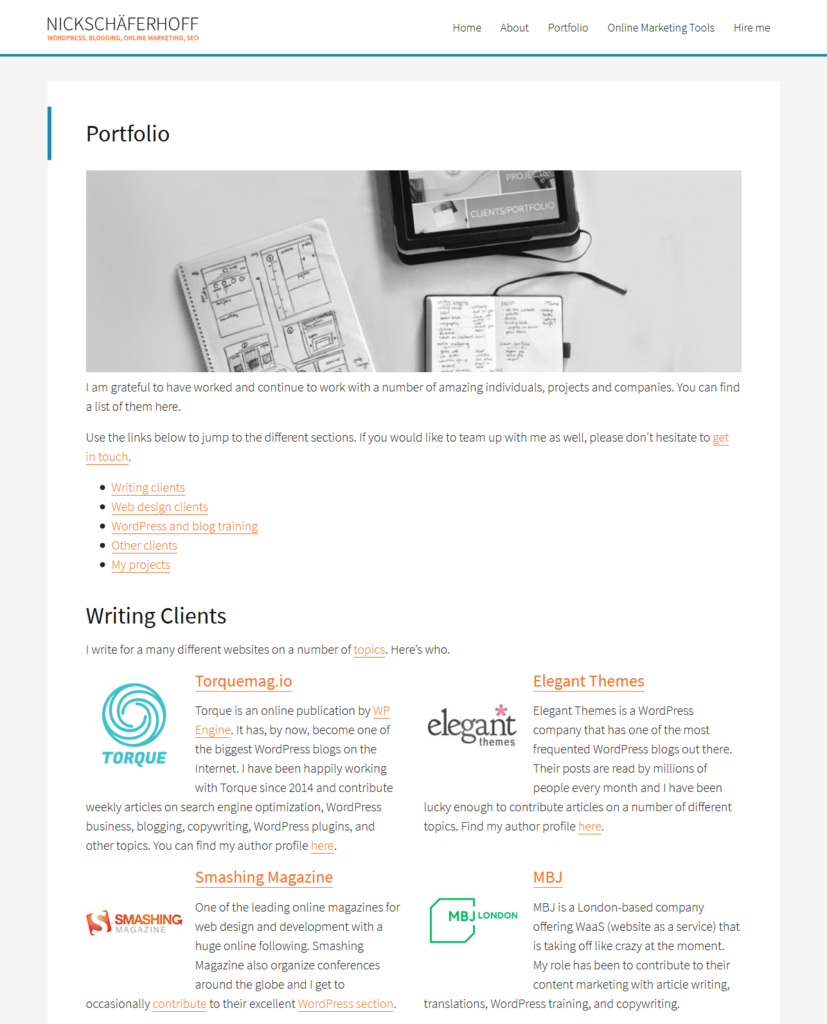 example for portfolio a must to start wordpress career