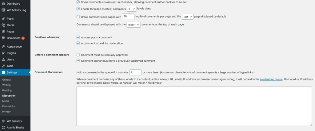 The Settings > Discussion screen within WordPress.