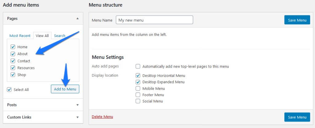 add menu items to wordpress navigation menu to customize appearance