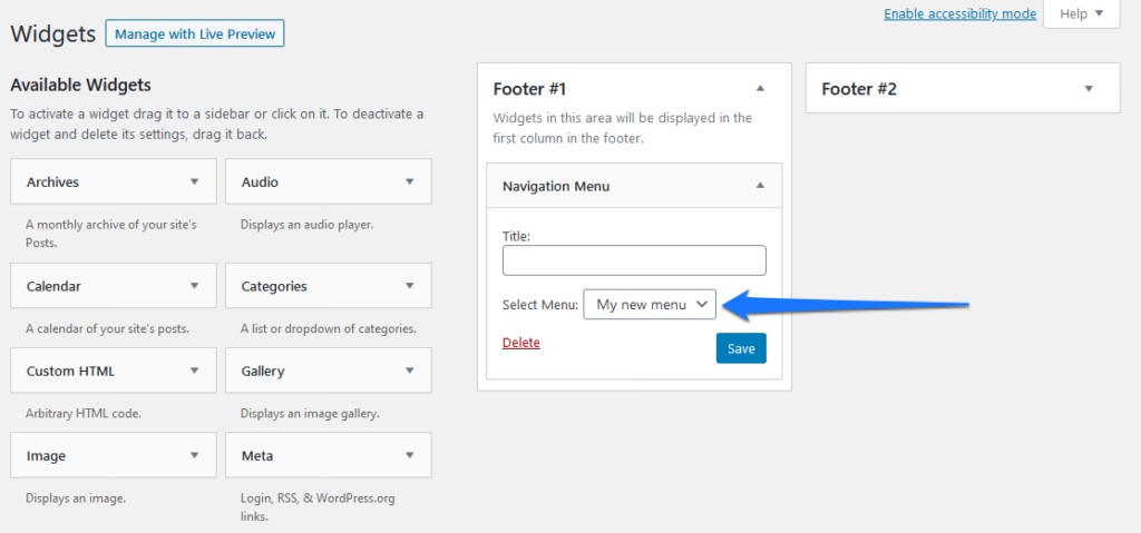 add wordpress navigation menu via widget
