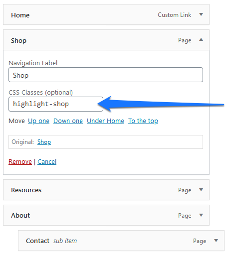 assign custom css class to wordpress menu item