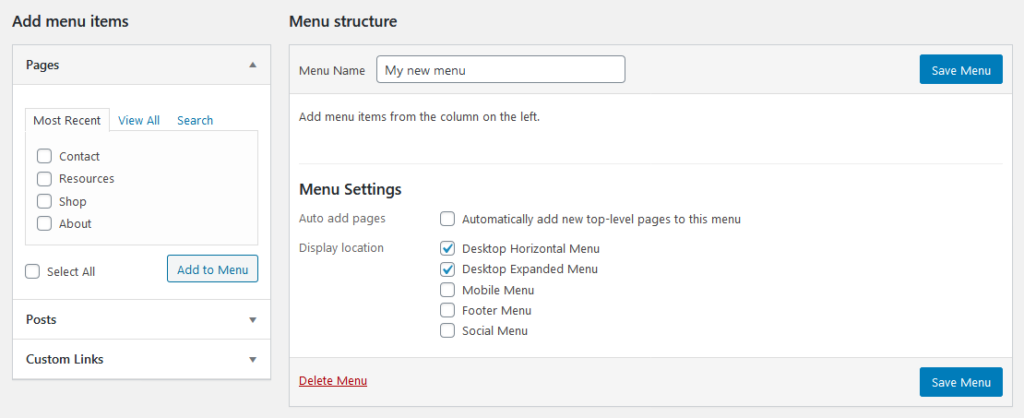 create wordpress navigation menu