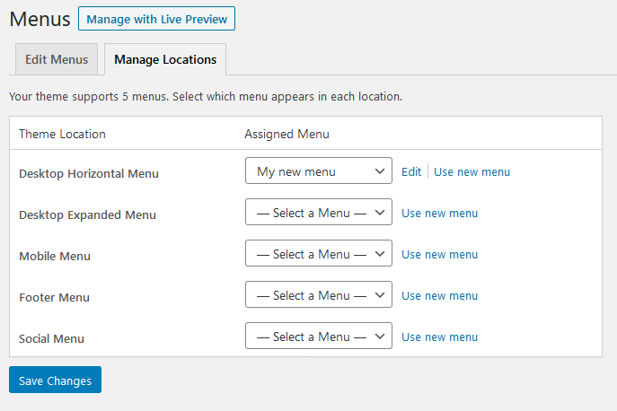 manage menu locations in wordpress