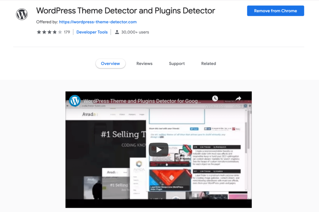 The WordPress Theme Detector and Plugins Detector Chrome extension.