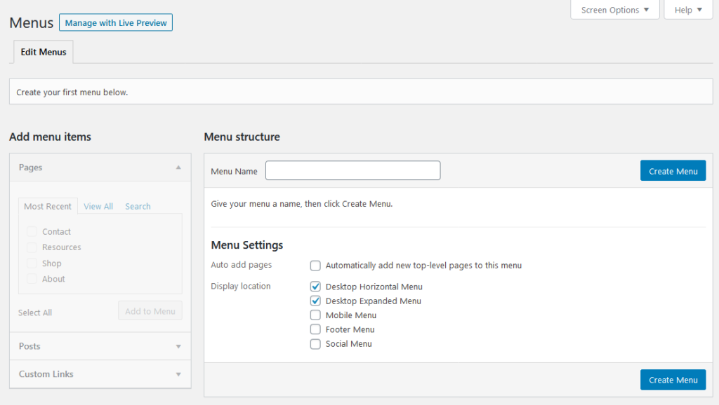 wordpress navigation menu settings