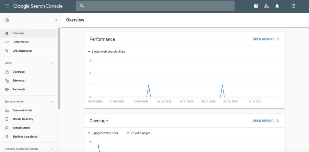 The Google Search Console dashboard.
