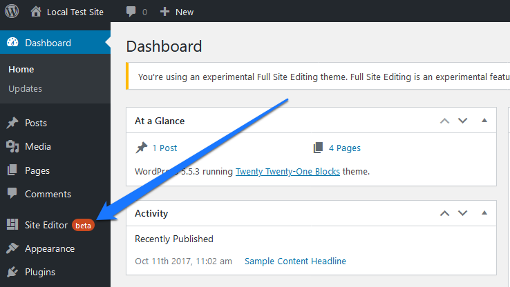 new site editor menu item in wordpress dashboard