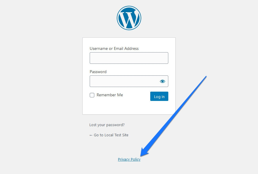privacy policy link on wordpress login page