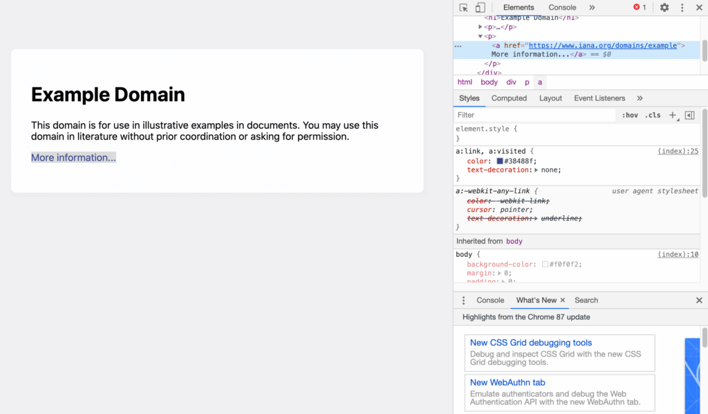 The Inspect Element Console in the Chrome web browser.