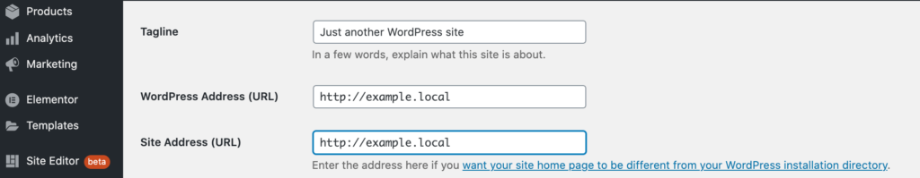Resolving a mixed content warning, in the WordPress general setting.