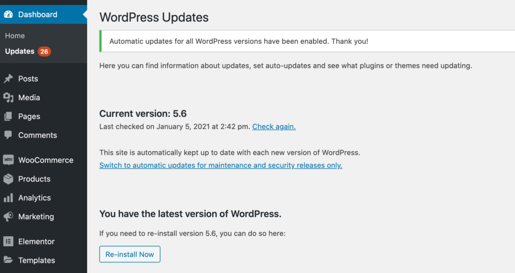 The WordPress auto-updates feature, introduced in version 5.6.