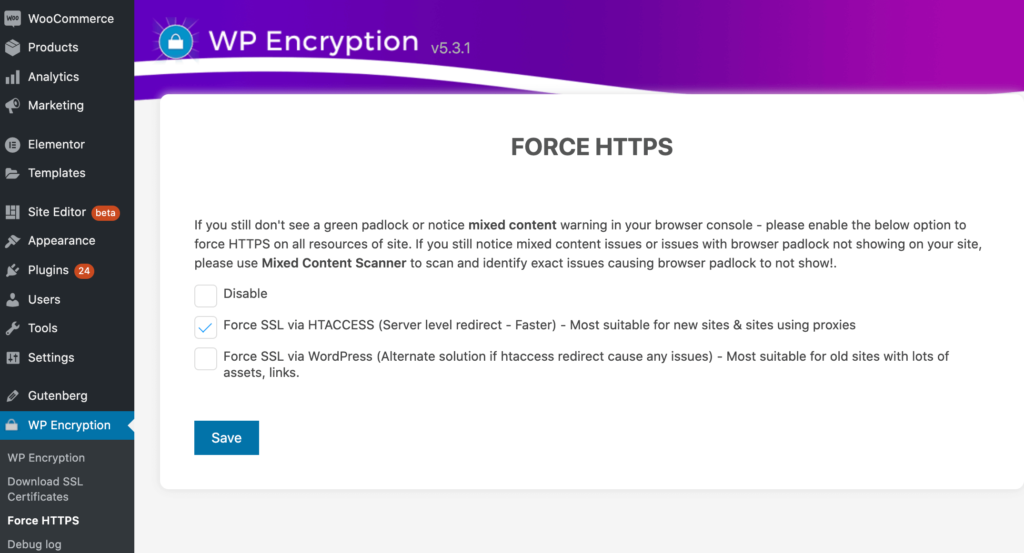 Creating a HTTPs redirect using the WP Encryption tool.