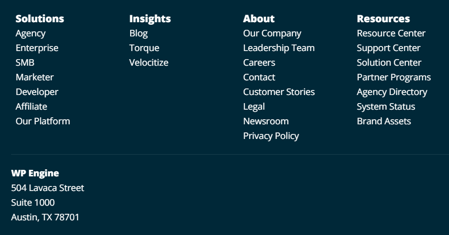 Contact information and physical address for WP Engine in the website footer.