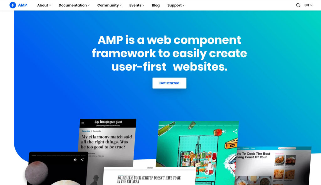 The Google AMP home page.