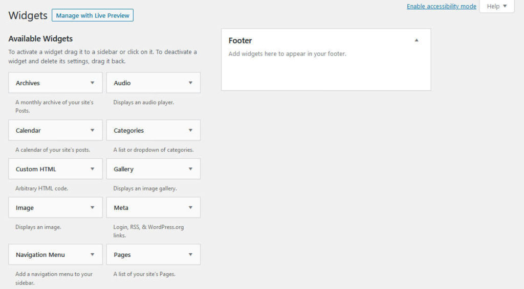customize wordpress footer via native functionality