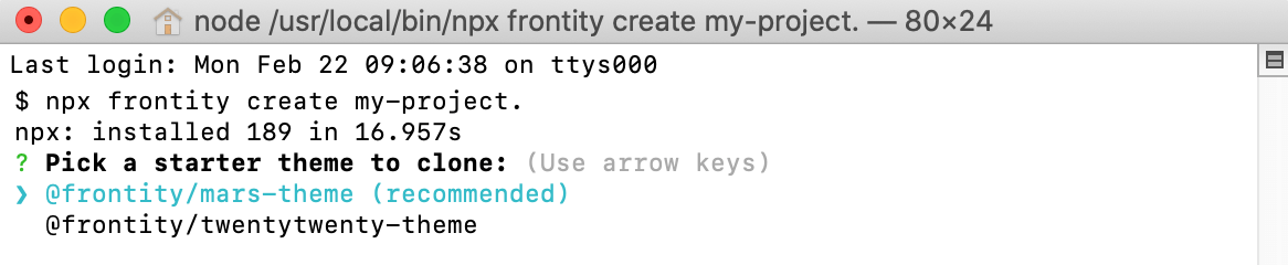 Frontity commands in a macOS Terminal window.