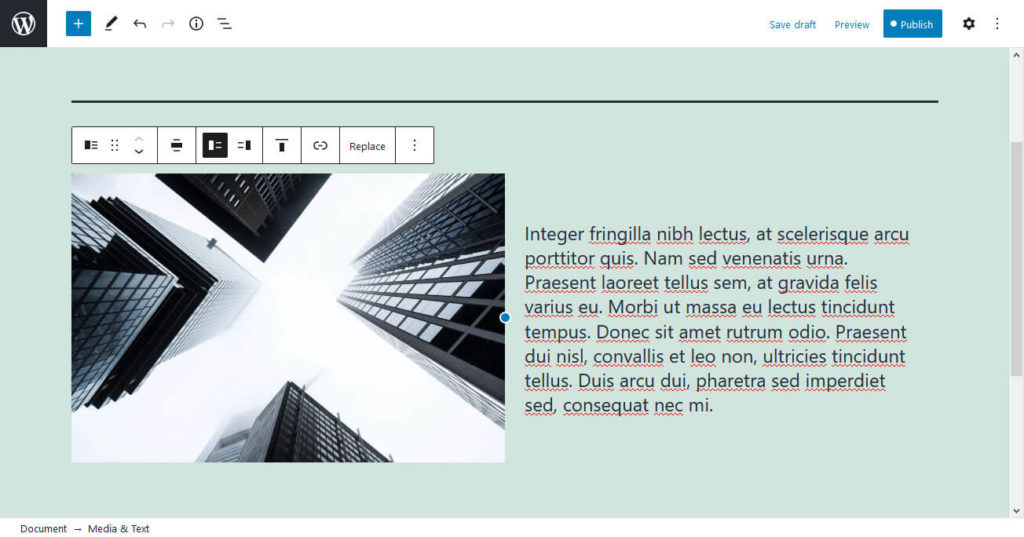 gutenberg features media and text block