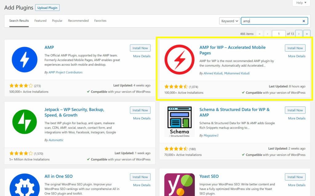 The plugin search page with the AMP for WP – Accelerated Mobile Pages plugin.