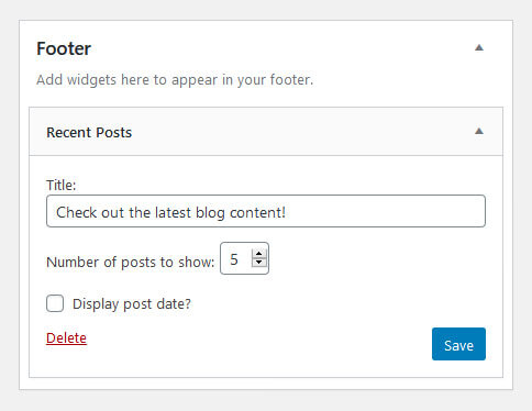 populate wordpress footer with widgets