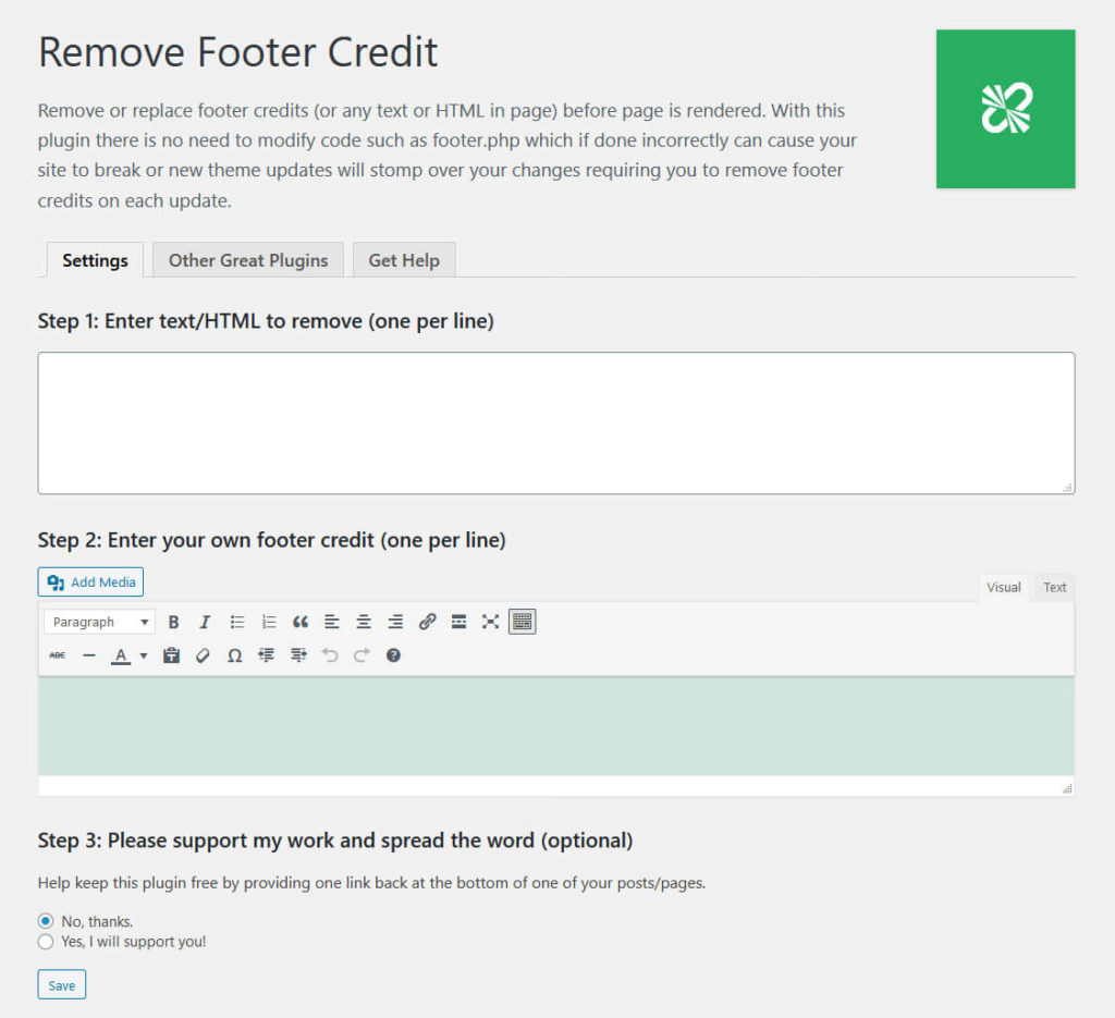 remove footer credit plugin settings
