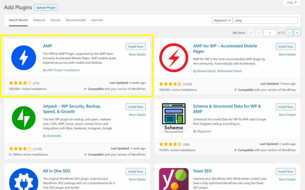 The plugin search page with the official AMP for WordPress plugin.