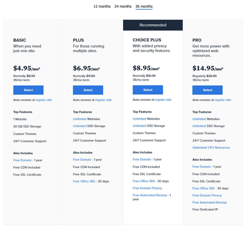 bluehost shared hosting pricing example