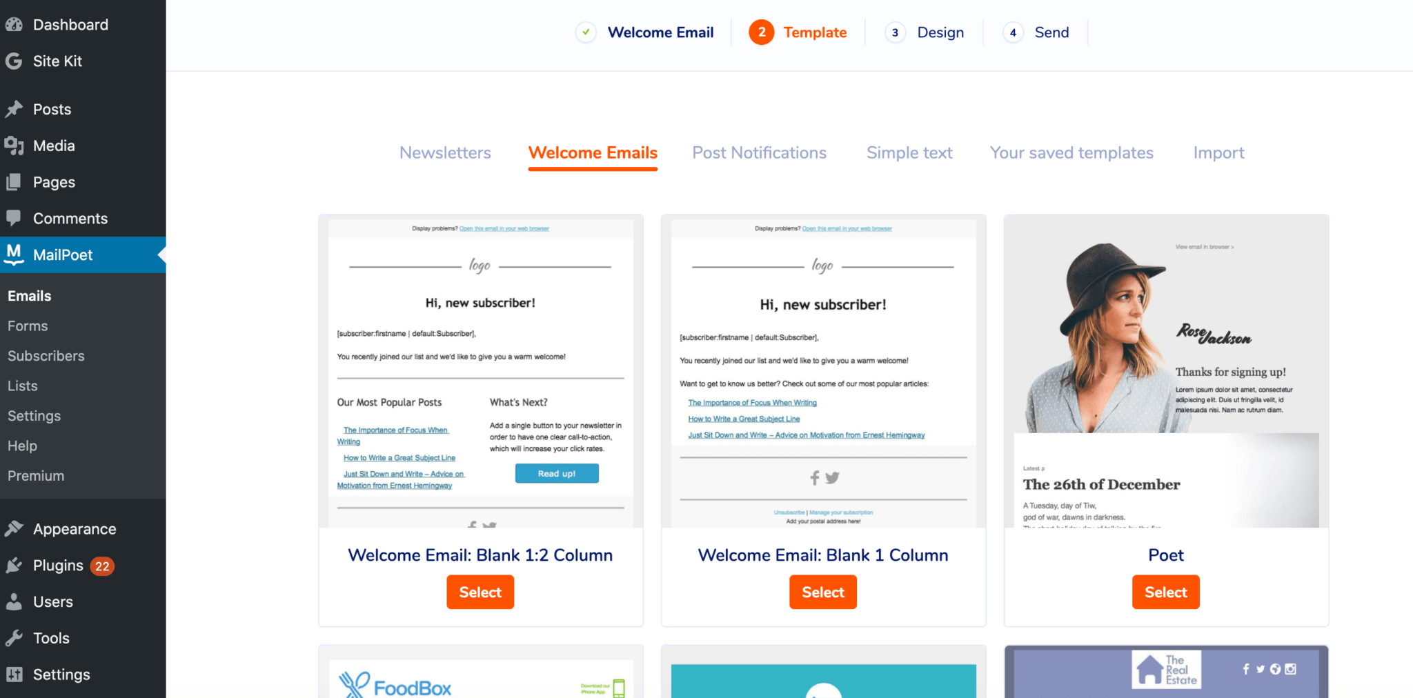 Welcome email templates in the MailPoet dashboard.