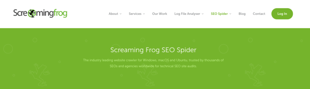 The Screaming Frog SEO Spider tool.