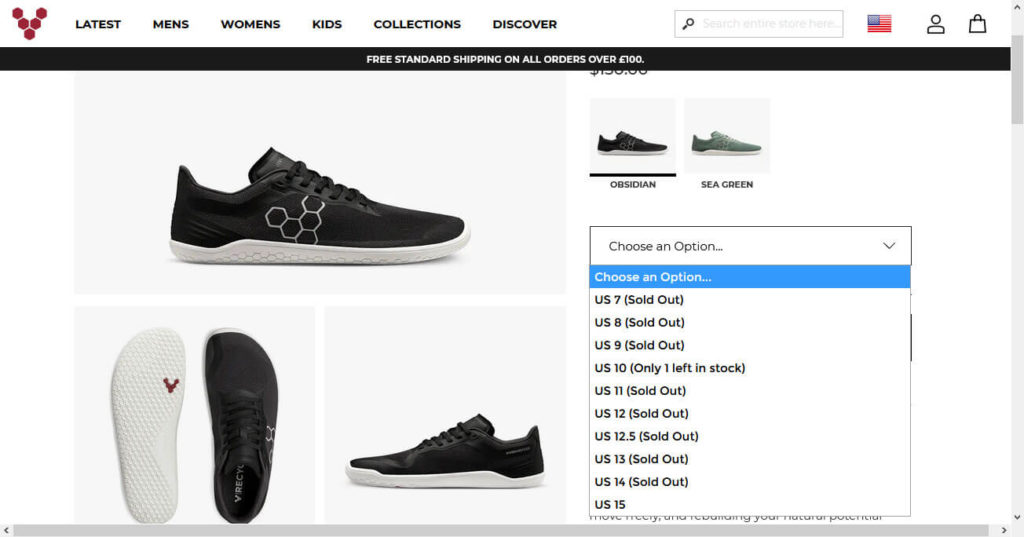 choose product size from drop down menu