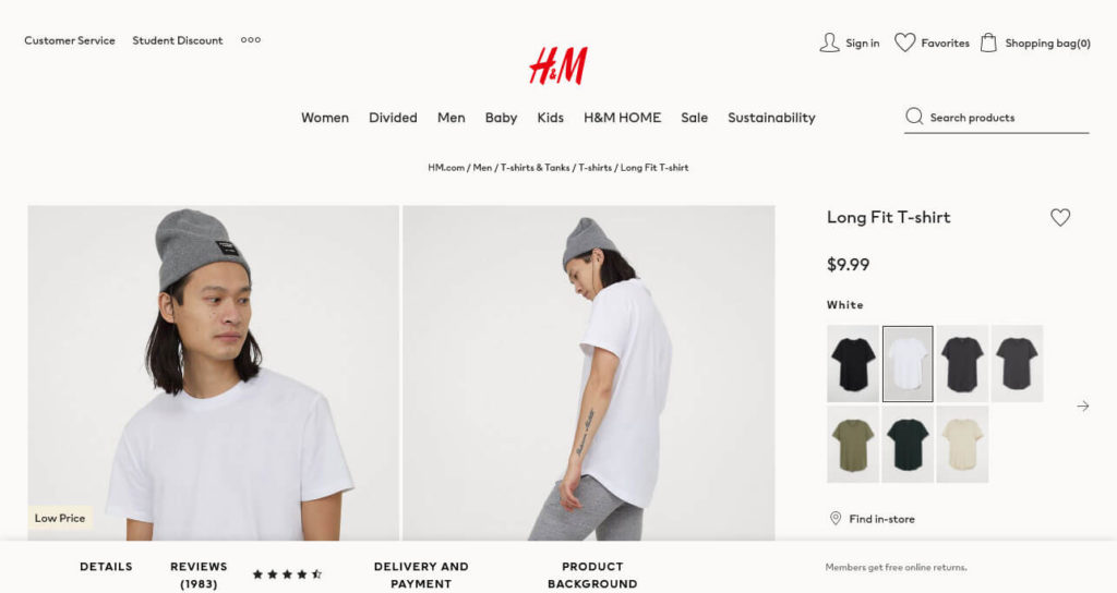 ecommerce ui design color choice example