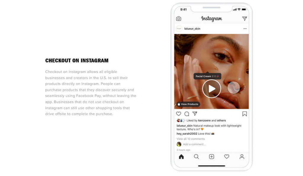 social selling is one of the ecommerce trends 2021 example instagram checkout