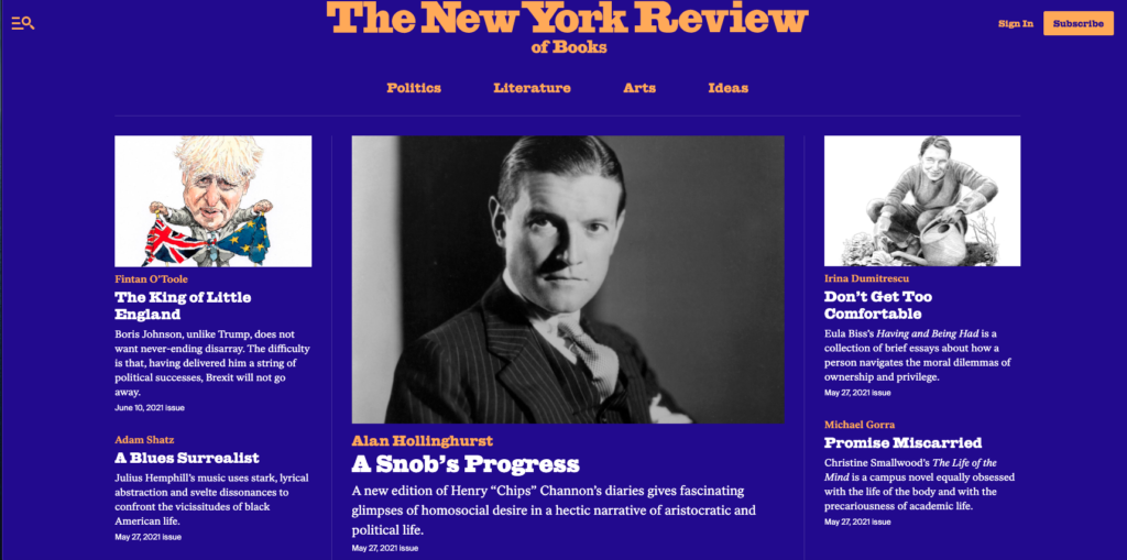 Screenshot of the New York Review of Books