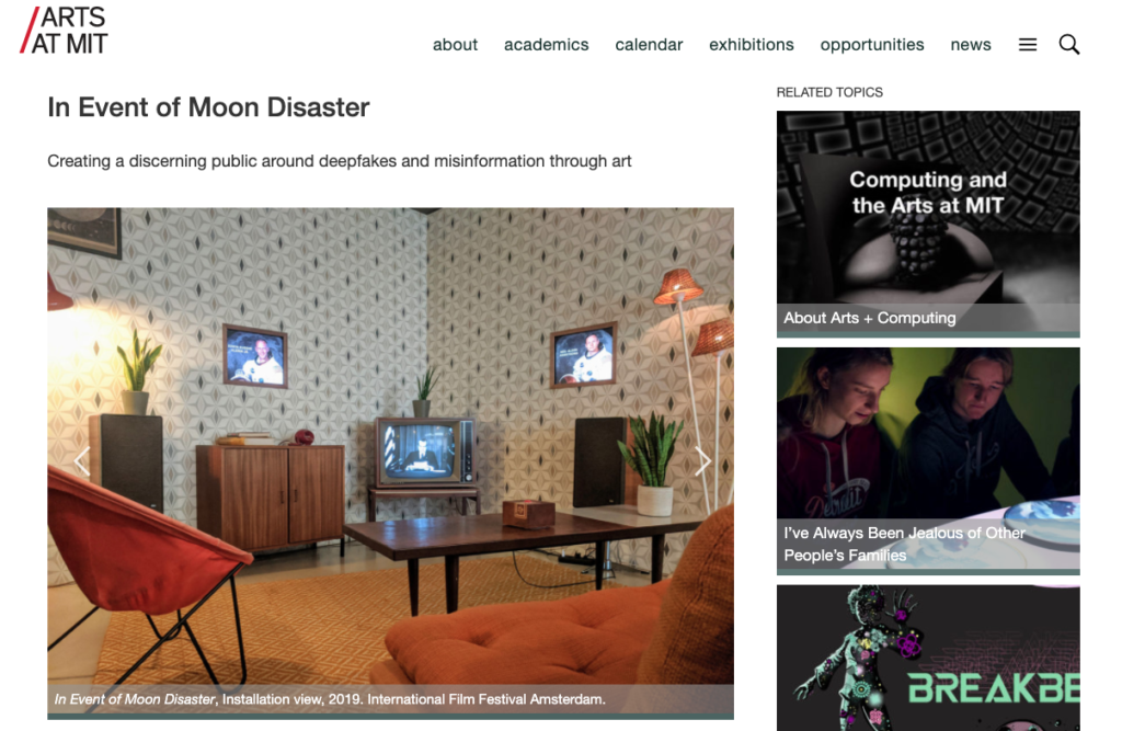 Screenshot of the homepage of In Event of Moon Disaster