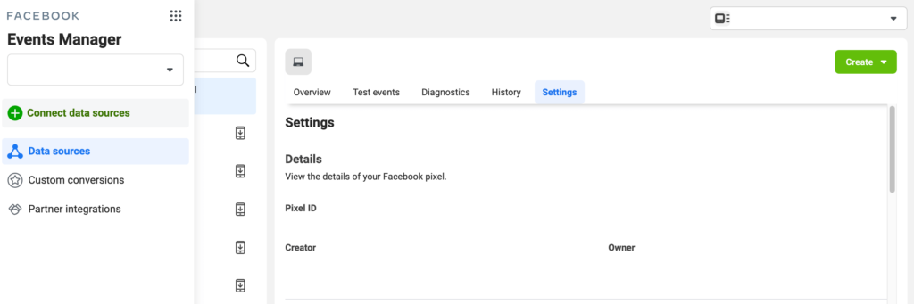 The Facebook Events Manager screen.