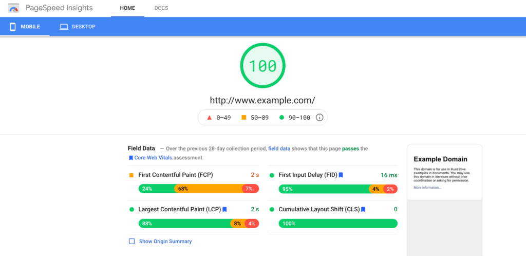 The Google PageSpeed Insights results page.
