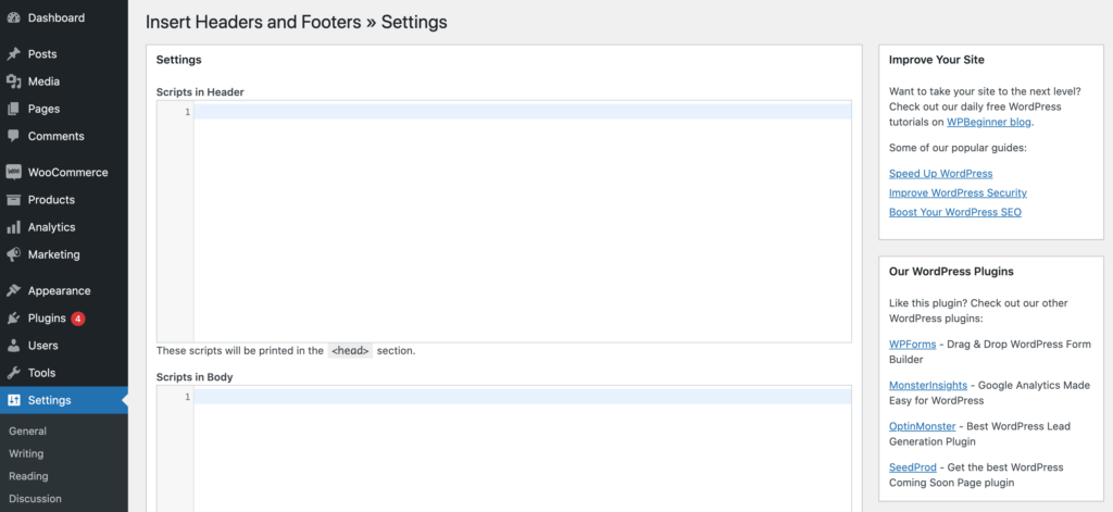 The Insert Headers and Footers plugin.