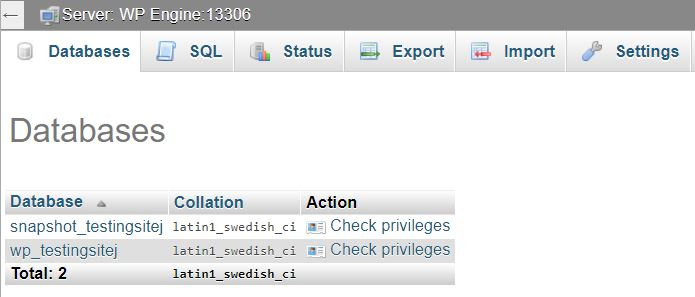 Accessing databases in phpMyAdmin