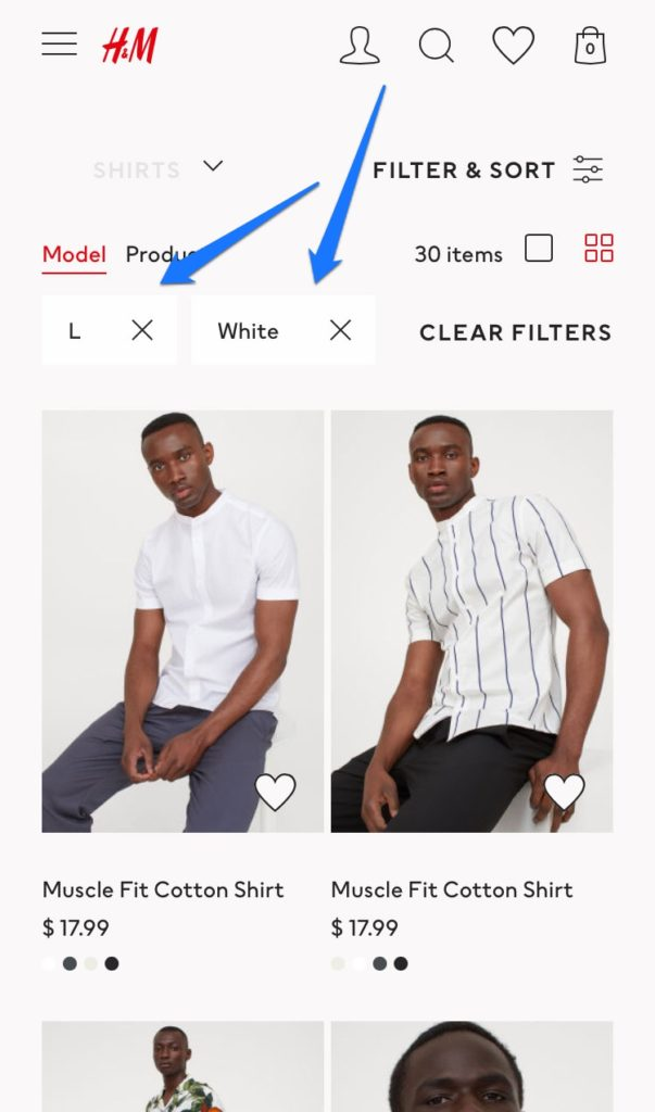 product filters in mobile ecommerce website design example
