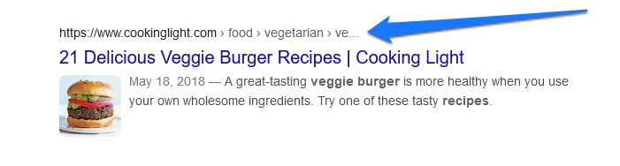 breadcrumbs in search results example
