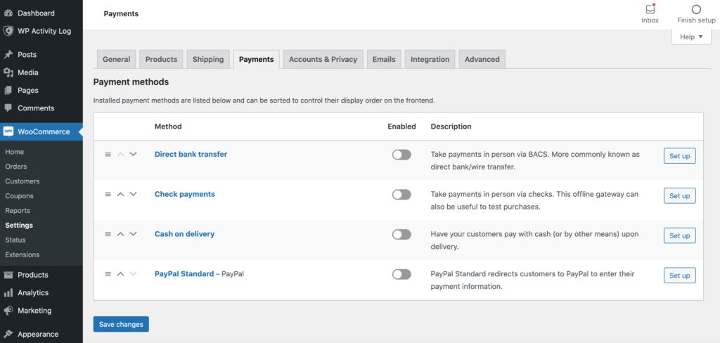 WooCommerce's payment settings.