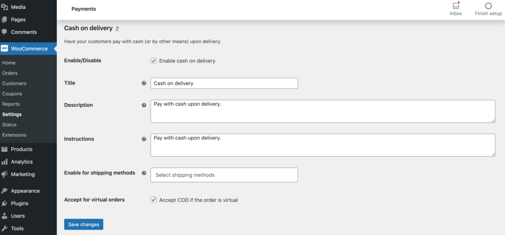 WooCommerce's Cash On Delivery settings.