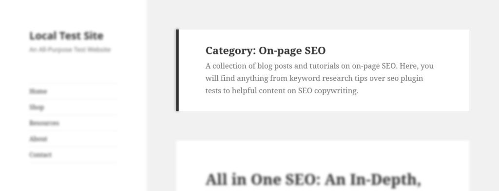 wordpress category archive description on page example