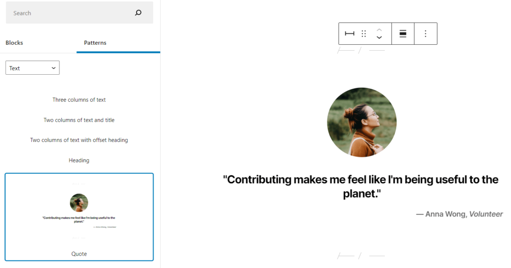 Adding a Quote pattern to a WordPress page.