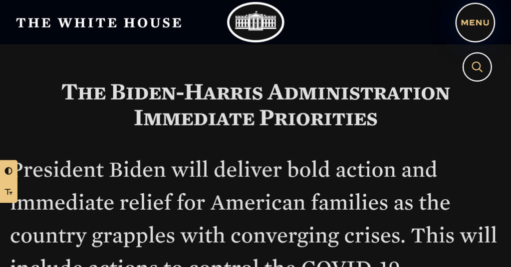 the white house increased contrast font size